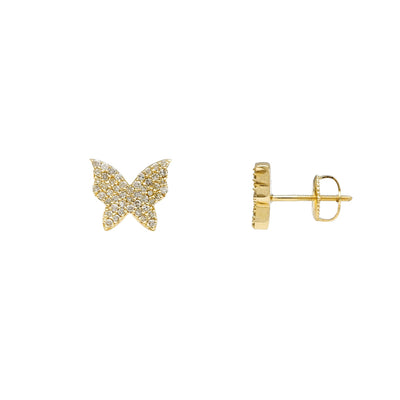 Diamond Butterfly Stud Earrings (14K) Lucky Diamond New York