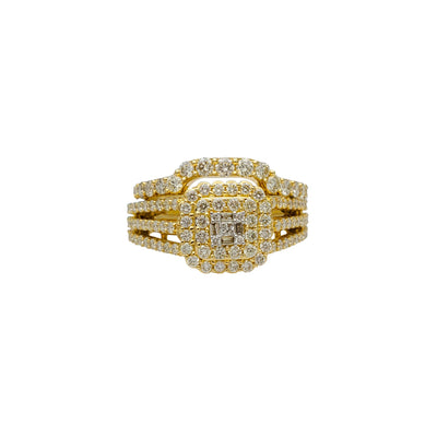 Diamond Cluster Milgrained Two-Piece-Set Ring (14K) Lucky Diamond New York