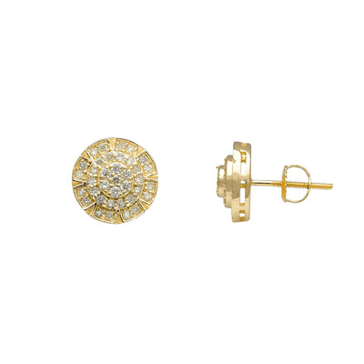 Diamond Cocktail Cluster Round Stud Earrings (14K) Lucky Diamond New York