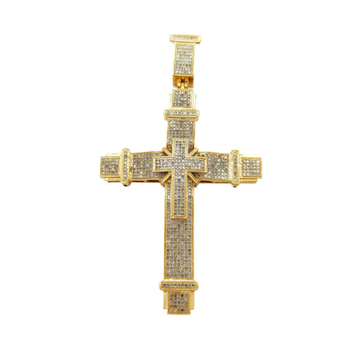Diamond Icy Double Cross Pendant (10K) Lucky Diamond New York