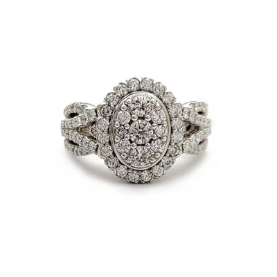 Diamond Pave Cocktail Oval Ring (14K) Lucky Diamond New York