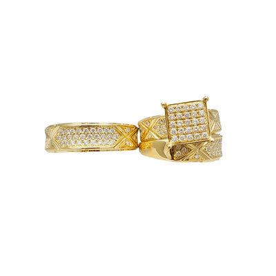 Diamond Square Setting Three-Piece-Set Ring (14K) Lucky Diamond New York