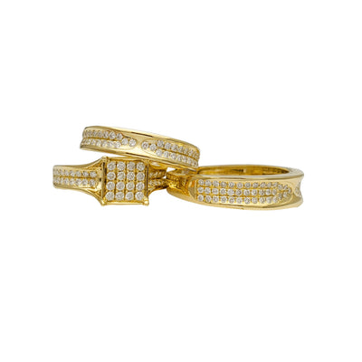 Diamond Square Three-Piece-Set Ring (14K) Lucky Diamond New York