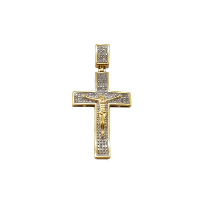 Diamond Curved Crucifix Pendant (10K) 10 Karat Two-Tone Gold, Lucky Diamond New York