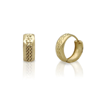 Diamond Cut Set Huggie Earrings (14K) Lucky Diamond New York