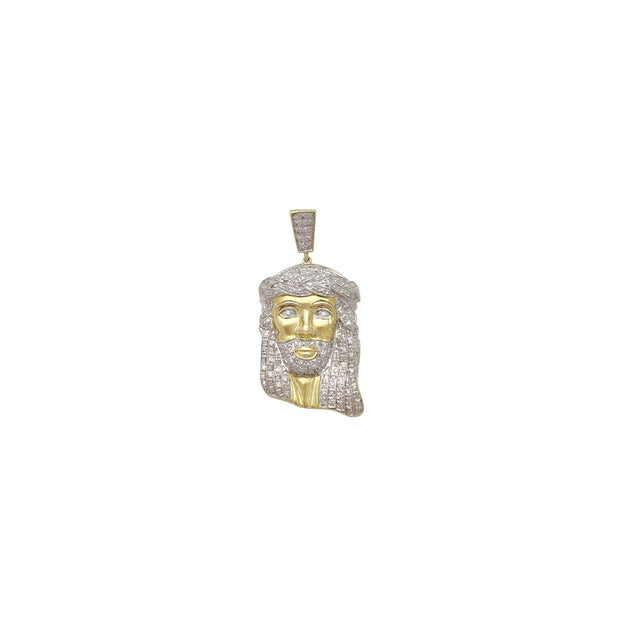 Diamond Jesus Head Pendant (10K) Lucky Diamond New York