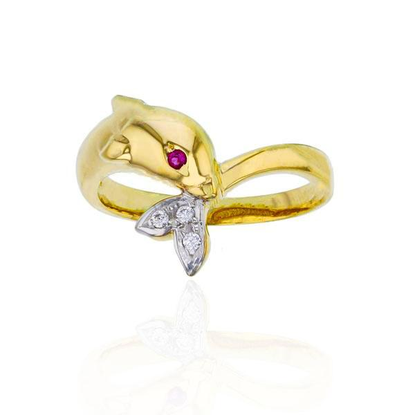 White Tail Dolphin CZ Ring (14K)
