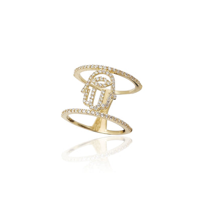 Double Stack Hamsa Fancy Ring (14K)