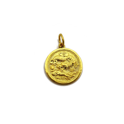 [龙] Dragon Zodiac Sign Medallion Pendant (24K) Lucky Diamond New York