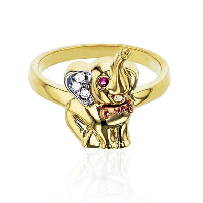 Tri-Color Elephant CZ Ring (14K)