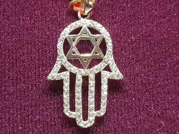 Iced Out Star of David Hamesh Hand Pendant Silver - Lucky Diamond