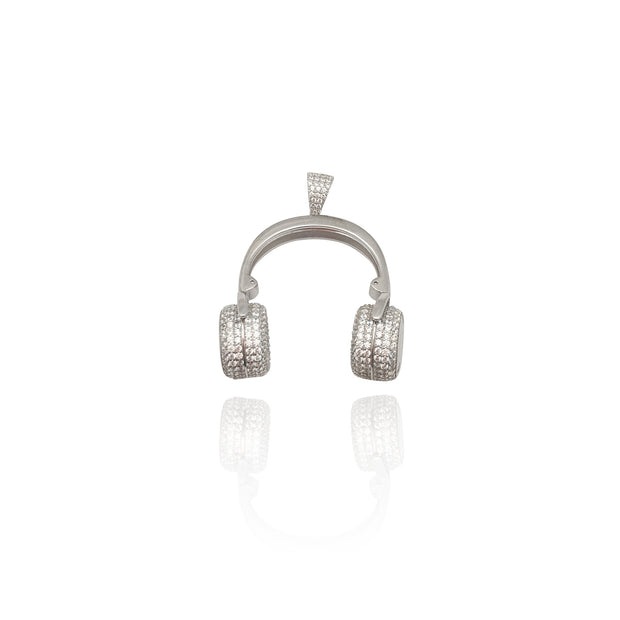 Headphone CZ Pendant (Silver) New York Lucky Diamond