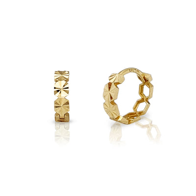 Hexagon Shape Diamond Cut Huggie Earrings (14K) Lucky Diamond New York