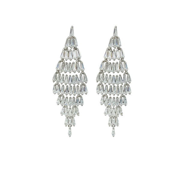 Baguettes Fantasy Drop CZ Earrings (Silver).