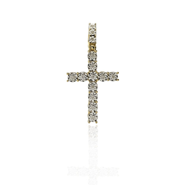 Single-Row Stone Cross Pendant (10K)