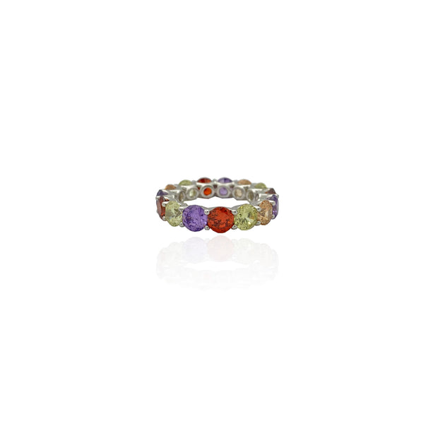 Pastel Rainbow Prong Eternity Band (Silver)