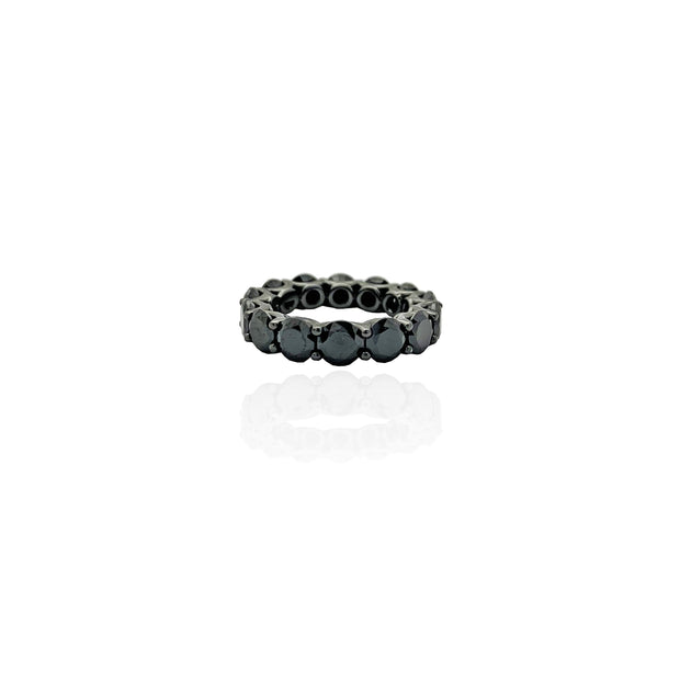 Black Stone Eternity Band (Silver)