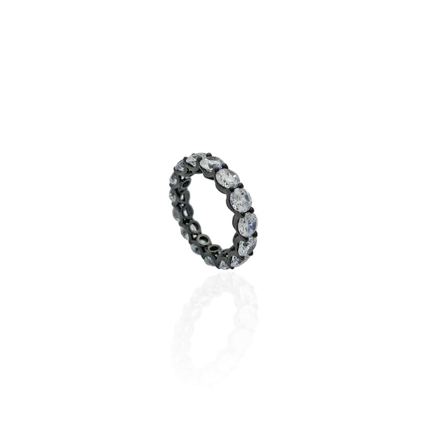 Round Stone Shared Prong Eternity Band (Silver)