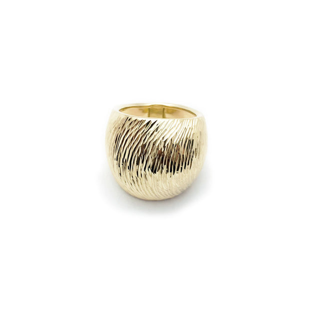 Domed Wood Grain Pattern Ring (14K)