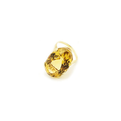 Oval Citrine Solitaire Ring (14K)