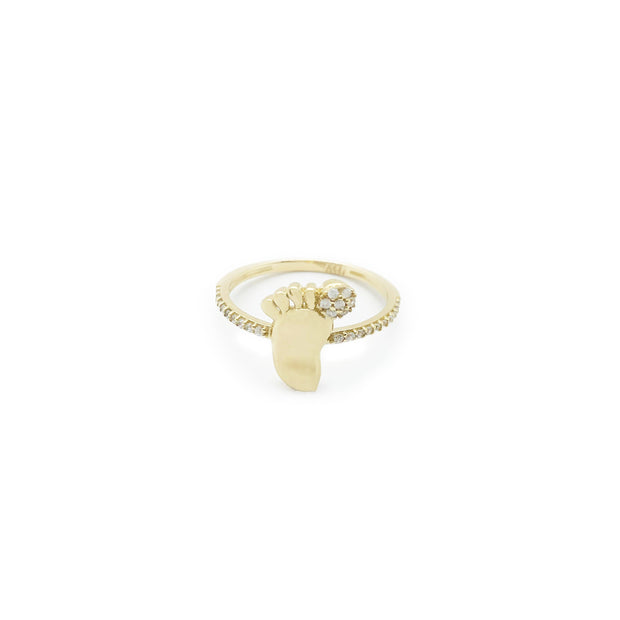 Stoneset Baby Foot Ring (14K)
