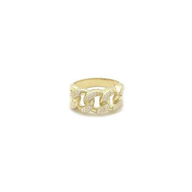 Iced-Out Cuban-Link Ring (10K)
