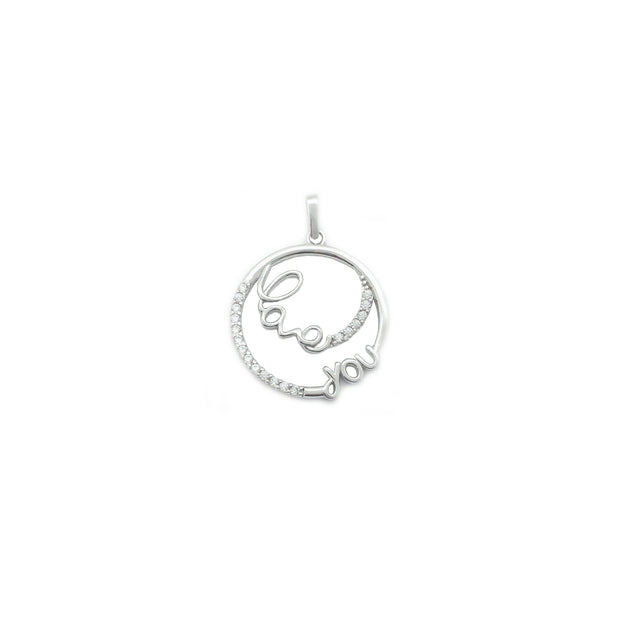 """Love You"" Circle Pendant (14K)"