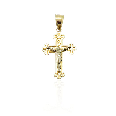 Two-Tone Budded Cross Pendant (14K)