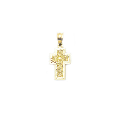 Patterned Swirl Diamond-Cut Cross Pendant (14K)