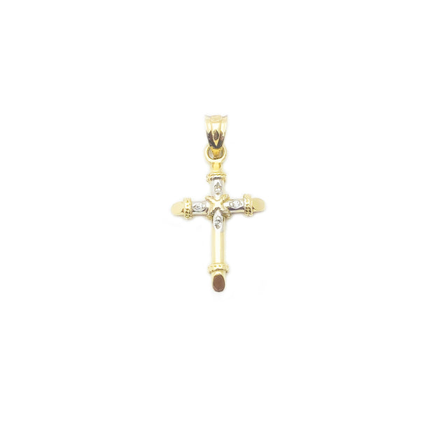 Two-Tone Rope-Bound Cross Pendant (14K)