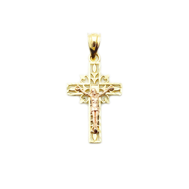 Heart-Framed Crucifix Pendant (14K)