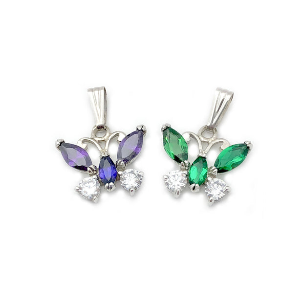 Bejeweled Butterfly Pendant (14K)
