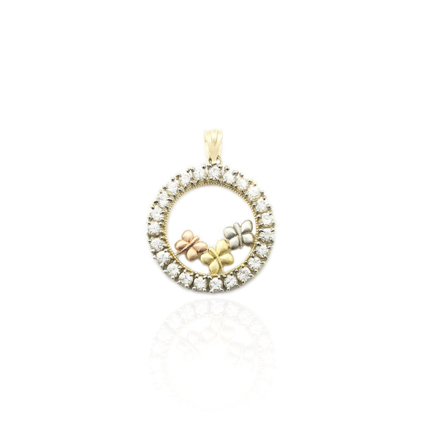 Tri-Color Butterfly Round CZ Frame Pendant (14K)