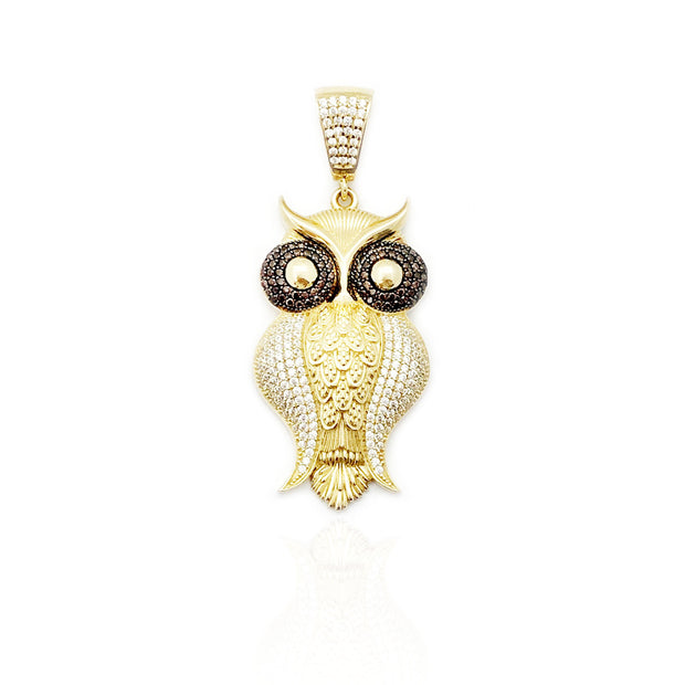 Iced-Out Owl At Ease Pendant (14K)