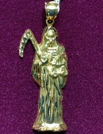 Santa Muerte 14K Yellow Gold - Lucky Diamond 恆福珠寶金行 New York City 169 Canal Street 10013 Jewelry store Playboi Charlie Chinatown @luckydiamondny 2124311180