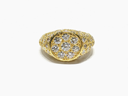 Iced Out Diamond Signet Ring (14K)