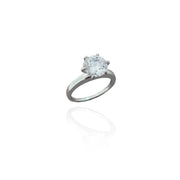 Six-Prong Solitaire Engagement Ring (Silver).