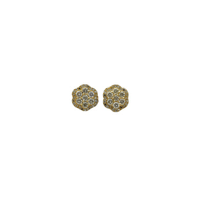 Diamond Double Honeycomb Stud Earrings (14K) Lucky Diamond New York