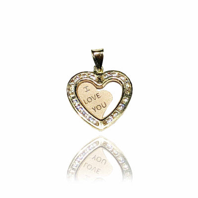 """I LOVE YOU"" Two-Tone Heart CZ Pendant (14K)"
