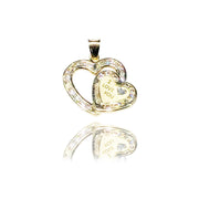"""I LOVE YOU"" Double Heart CZ Pendant (14K)"