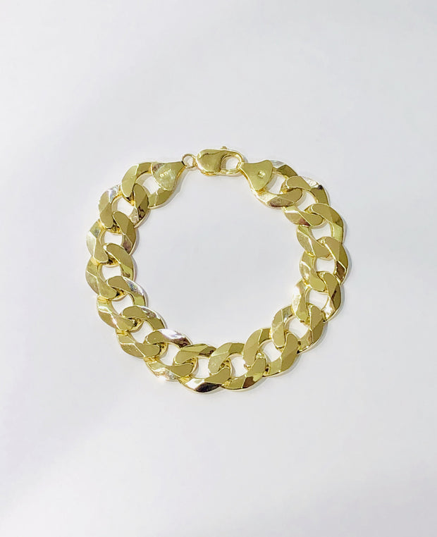 Yellow Gold Italian Solid Cuban Bracelet (14K)