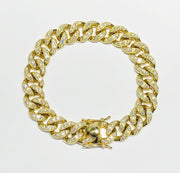 Diamond Miami Yellow Gold Cuban link Bracelet (14K)