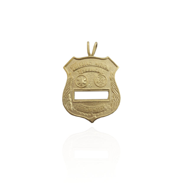 NYC Emergency Medical Badge Pendant (14K)