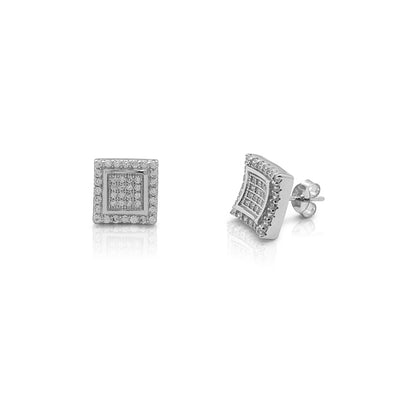 Iced-Out Curved Square Stud Earrings (Silver) Lucky Diamond New York