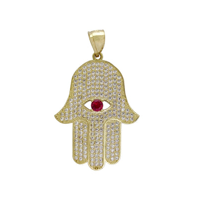 Iced-Out Hamsa Hand XL Pendant (14K) Lucky Diamond New York