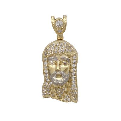 Iced-Out Jesus Head Pendant (10K) Lucky Diamond New York
