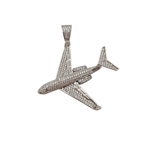 Iced-Out Jet Airplane Pendant (Silver) Lucky Diamond New York