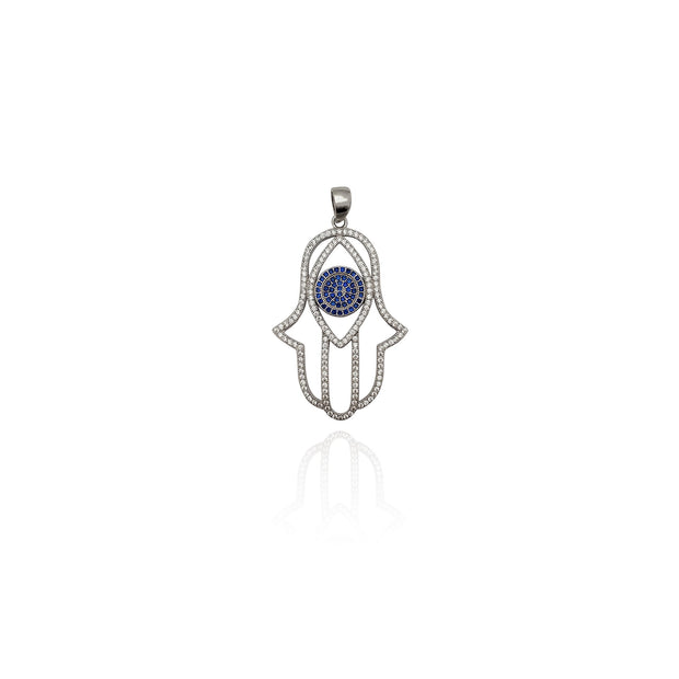 Iced-Out Lined Hamsa Pendant (Silver) New York Lucky Diamond
