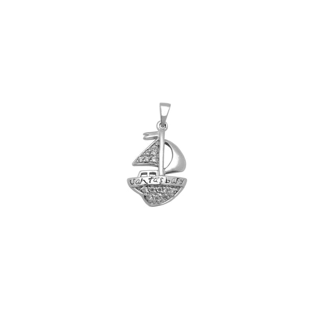 Iced-Out Sailing Boat Pendant (Silver) Lucky Diamond New York