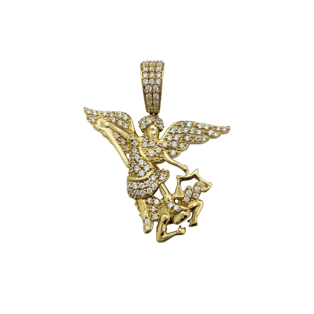 Iced-Out Saint Michael CZ Pendant (14K) Lucky Diamond New York